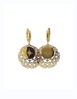 DITA - Créoles dorées médaille ajourée et étoile