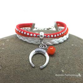 Bracelet mini manchette NAEL corail blanc