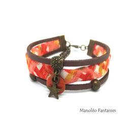 Bracelet tissu sequin étoilé orange et marron...