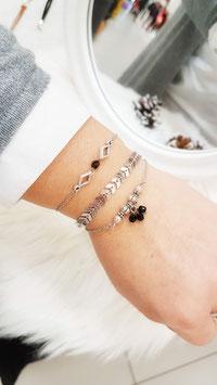 NATHAN noir - Trio de bracelets fins triangle -30%