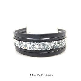 Bracelet PABLO cuir noir et ses paillettes argentées