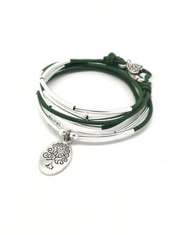 FAMILLE vert kaki ♥ Bracelet en cuir médaille arbre de vie ovale