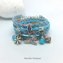 Bracelet LIBERTY double tour, ses perles et pampilles, dans les tons bleus et argenté...