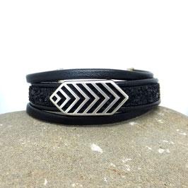 LAGO - Bracelet cuir noir et paillettes noires -50%
