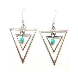 [ ÉPUISÉ ] ISIS - Boucles d'oreilles triangles argentés, perle turquoise