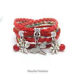 Bracelet LIBERTY double tour, ses perles et pampilles, dans les tons rouges et argenté...
