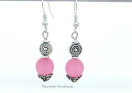 """Boucles d'oreilles argentées """"TOURBILLON"""" et sa perle polaris rose..."""