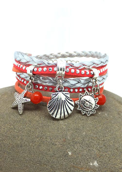 PYLA - Bracelet manchette deux tours corail et argenté
