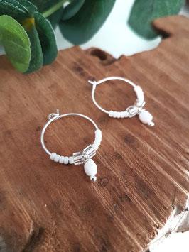 [ EPUISE ]LISA - Créoles en argent et perles blanches