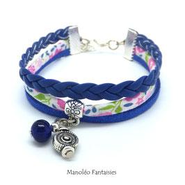 Bracelet liberty PAMPILLE tourbillon, cuir et suédine dans les tons bleus...
