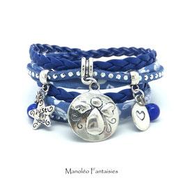 Bracelet ANGE double tour, ses perles et pampilles, dans les tons bleu, liberty bleu ciel et argenté...