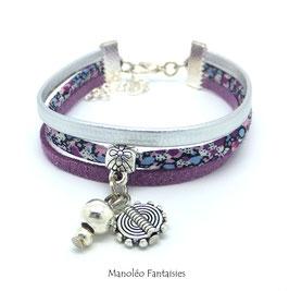 Bracelet liberty PAMPILLE entretoise, cuir et suédine dans les tons violets et argentés...