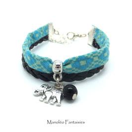 Bracelet manchette ÉLÉPHANT dans les tons turquoise, noir et argenté...