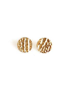 NAÏS - Boucles d'oreilles dorées médaille martelée