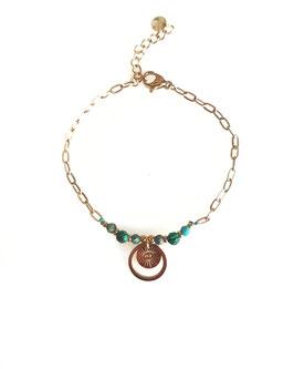 ROY vert émeraude - bracelet doré