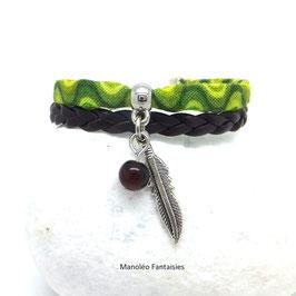 ANOKI - Bracelet plume vert