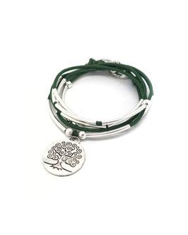 FAMILLE vert kaki ♥ Bracelet en cuir médaille arbre de vie ronde