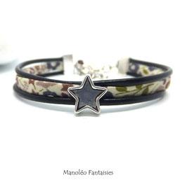 Bracelet Aloïs, ses étoiles, ses liens en cuir et sa perle marron dans les tons marrons et argenté...