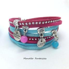 Bracelet LOEVA double tour, 4 liens suédine, dans les tons fuchsia, turquoise et argenté...