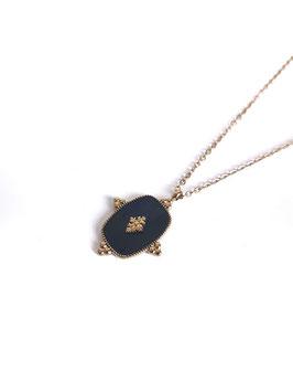 LYZ noir - collier doré médaille émaillée