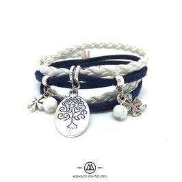 ARBRE DE VIE bleu et blanc - Bracelet manchette