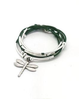DRAGONFLY vert kaki ♥ Bracelet en cuir libellule