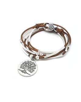 FAMILLE joli bronze ♥ Bracelet en cuir médaille arbre de vie ronde