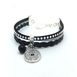 Bracelet manchette PIÈCE CHINOISE dans les tons noirs, gris et argentés..