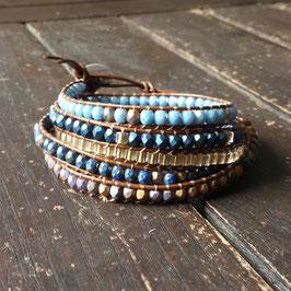 Bracelet wrap WILAN bleu et doré