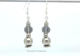 Boucles d'oreilles perles argentées et entretoises...