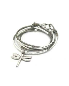 DRAGONFLY gris ♥ Bracelet en cuir libellule
