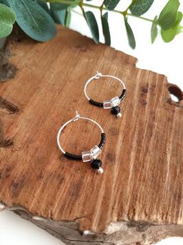 Créoles argent LISA mini perles noires