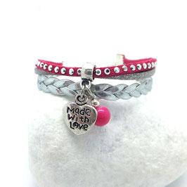 CŒUR rose - Bracelet mini manchette - 50%
