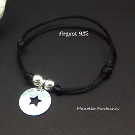 Bracelet médaille ETOILE en ♥ ARGENT ♥ et ses perles en argent 925/1000 sur cordon noir...