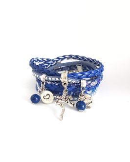 FEE - Bracelet manchette 2 tours MALO, fée, coeur, bleu et argenté
