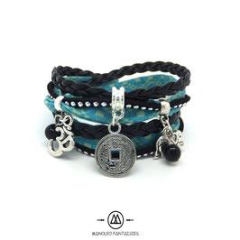 Bracelet ZEN manchette 2 tours, ses pampilles, dans les tons noir, turquoise et argenté...