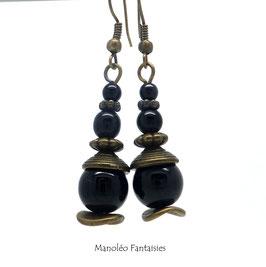 Boucles d'oreilles MALAIKA dans les tons de noir et bronze...
