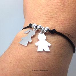 """Bracelet 2 Enfants"""" en argent 925/1000 sur cordon..."""