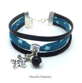 Bracelet PAMPILLES étoiles, tissu étoilé, cuir et suédine dans les tons turquoises et noirs...