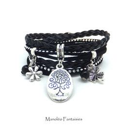 Bracelet ARBRE DE VIE manchette 2 tours, ses perles et pampilles, dans les tons noir et argenté...