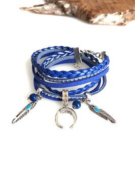 LIANG bleu- Bracelet multitours demi lune et plumes