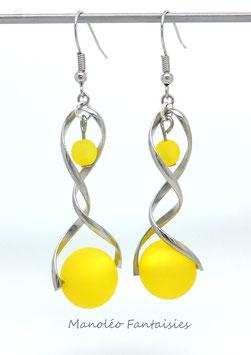 """Boucles d'oreilles """"spirale et polaris"""" jaunes..."""