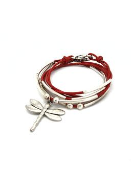 DRAGONFLY rouge - Bracelet en cuir libellule