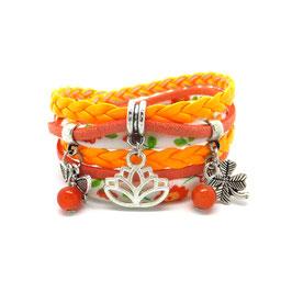 - 20 % Bracelet  LOTUS double tour et ses pampilles dans les tons orange et argenté