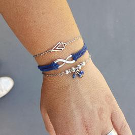 ETHAN bleu - trio bracelets fins bohème