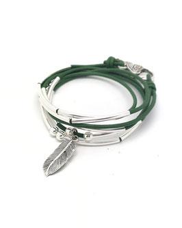 PLUME vert kaki ♥ bracelet en cuir transformable en collier