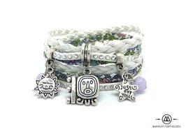 Bracelet MAYA et ses pampilles, blanc et liberty