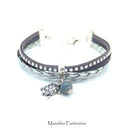 TORTUE - bracelet mini manchette gris