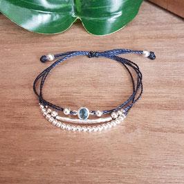 KELSO bleu - Bracelet strass cordon réglable