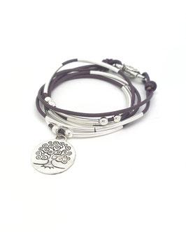 FAMILLE joli violet ♥ Bracelet en cuir arbre de vie